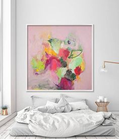 """Abstract Floral Painting Large Wall Art Print from Canvas Painting Pink and Green chic feminine art """"English Garden 1"""""""