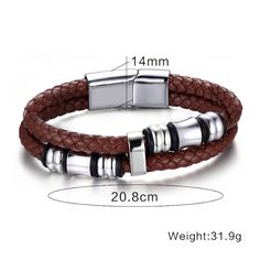 Jewelry Men Vintage Leather Bracelet Wrap Band Double Braided Rope Stainless Steel Bangle Brown with 8inch Isn`t it awesome? #Jewelry #shop #beauty #Woman's fashion #Products