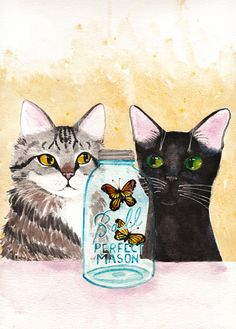 Butterflies in a Jar  Original Cat Folk Art by KilkennycatArt