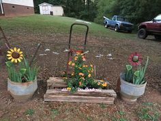 Metal Sunflowers & Lantana in the Junk Garden