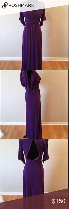 "Badgley Mischka Purple Silk Formal Gown The dress does zip up all the way, it's just a little bit small on my mannequin.  Size: 2  Material: 100% Silk  Measurements:  Across armpit to armpit: 14.5""  From Shoulder to Hem: 54"" Badgley Mischka Dresses Wedding"