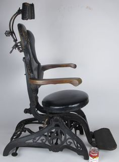 1800's WD Allison Cast Iron Leather Barber's Dental Medical Surgical Chair yqz