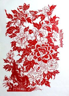 2pcs/lot paper-cuts traditional Chinese flower window decoration hand-made red paper 45*30cm