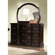Michelle 9-Drawer Genuine Leather Dressing Table with Mirror in Brown