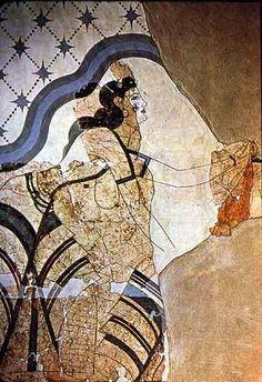 Priestess in a shrine which was used for the initiation of young women. The flounced skirts and exposed breasts are typical of Minoan priestesses of the Great Goddess