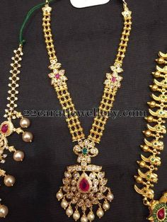 22 carat gold triple layers kundan necklace with floral patterned motifs placed all over, two step designer flower pendant, studded with ...
