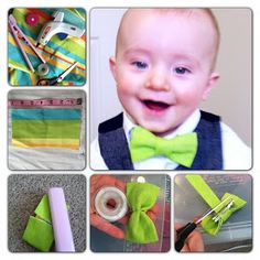 No Sew Bow Tie Tutorial. Super Easy to make using scrap fabric, a hot glue gun and a hair clip.