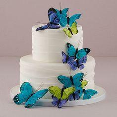 Bruiloft decoratie vlinders blauw