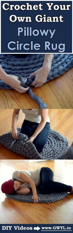 Crochet Your Own Giant Pillowy Circle Rug - Watch - Ideas of Watch - Heres a detailed tutorial on how to make your very own roving rug! Crochet Home, Crochet Crafts, Yarn Crafts, Diy Crafts, Crochet Rugs, Knitted Rug, Knitted Pillows, Crochet Blankets, Yarn Projects