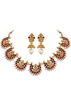 Buy Zaveri Pearls Gold Tone Traditional Temple Choker Necklace Set For Women-ZPFK8983 at Amazon.in Trendy Jewelry, Jewelry Sets, Fashion Jewelry, Unique Jewelry, Diva Fashion, Gold Jewelry, Pearl Necklace Designs, Pearl Necklace Set, Traditional Earrings