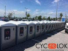 Cyc-lok - Access controlled modular bike parking lockers providing safety and security in a block of 12 lockers per unit equivalent to 1 car parking space. Road Cycling, Road Bike, Bike Parking, Access Control, Ways To Travel, Sustainability, Lockers, Bicycle, The Unit