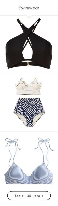 """Swimwear"" by queenavis ❤ liked on Polyvore featuring swimwear, bikinis, bikini tops, tops, swimsuit, bikini, bathing suits, wrap halter bikini, cut-out swimsuits and cut out bikini top"