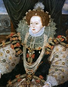 Elizabeth was a huge fan of pearls. Her dresses were embroidered withthem, andshe wore them in her wigsand around her neck. It is said that she is wearing the Hanoverian pearls in this portrait- which she bought cheaply from the struggling Mary Queen of Scots, just years before she ordered her execution.   - TownandCountryMag.com
