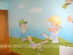 Murales infantiles pintados en toda España. Sobre paredes lisas o en gotelé. Muchas ideas y fotos en www.muralesmaravillosos.es