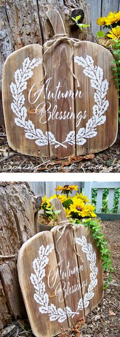 """11/"""" X 24/"""" Fall Harvest Yard Sign Bless this Home approx"""