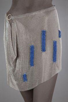 Blocks of Blue Skirt.Chainmaille Skirt -ArtistElaineUnzicker