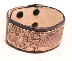 Etched Copper and Leather Bracelet Cuff Script by QueSarahSera, $30.00