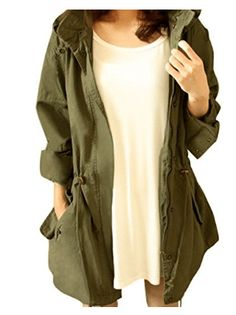 Cekaso Womens Anorak Jacket Lightweight Drawstring Hooded Military Parka Coat Army Green TagsizeXL=USsizeM * You can get additional details at the image link. (This is an affiliate link) Casual Coats For Women, Winter Coats Women, Jackets For Women, Military Jacket Women, Military Parka, Best Parka, Anorak Jacket Green, Thing 1, Parka Coat