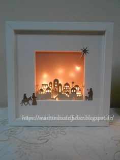 we did at the last workshops. The workshop . Den Workshop gab es wegen der gro… we did at the last workshops. The workshop was due to the high demand even within the last 3 weeks. Christmas Shadow Boxes, Christmas Frames, Stampin Up Christmas, Christmas Nativity, Christmas Projects, Christmas Diy, Christmas Bulbs, Christmas Cards, Christmas Decorations