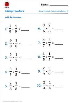 Grade 3 Adding Fractions Worksheets
