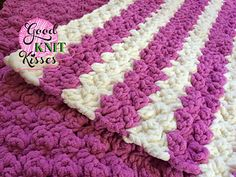 The Marshmallow Crochet Baby Blanket is a nice fluffy baby blanket with lots of texture. You can make this with any yarn or hook size. Samples shown in photo the Striped Marshmallow Crochet Baby Blanket and the Blanket behind is a single color for a solid look. Either are a beautiful marshmallowy choice. Free pattern on site or convenience download for $1.25 for digital tablet or paper back-up