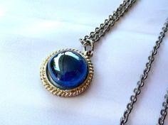 Vintage Silver Chain Necklace Blue Pendant  N55 by GraffitiCat, $4.50