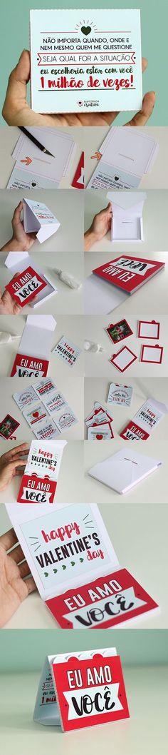 Cartão em camadas com foto para Valentine's Day.