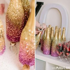 Ideas for diy wedding decorations glitter champagne bottles Gold Wedding, Dream Wedding, Wedding Day, Wedding Reception, Wedding Flowers, Wedding Centerpieces, Wedding Decorations, Candy Centerpieces, Quince Decorations