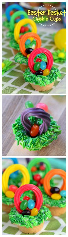 These Easter Basket Cookie Cups are so much fun to make and you can fill them with your favorite little candies! An easy and adorable recipe for Easter! | MomOnTimeout.com