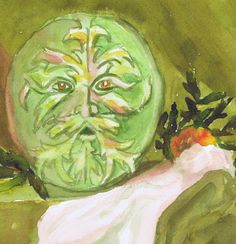 GREEN MAN - 7x7 archival print matted in white 12x12 mat in clear plastic sleeve  from original watercolor by Sharon Giles    The Green Man is a medieval homage to the forces of nature that appeared in many cathedrals.
