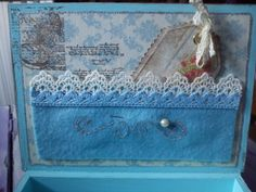 4. wooden box, decorated with scrapbook paper, acrylic paints and metal ornaments,