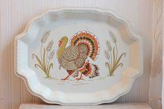 Turkey Platter Plastic Platter Turkey Tray Vintage by MollyFinds