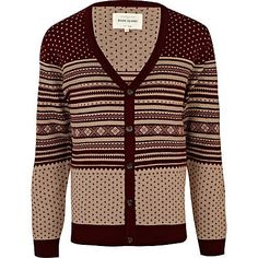 dark red fairisle stripe cardigan - cardigans - jumpers / cardigans - men - River Island