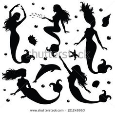 Collections Of Vector Silhouettes Of A Mermaid. - 121249963 : Shutterstock