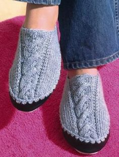 Slippers in Regia Silk 4 ply held double - Free Pattern Knitted Slippers, Crochet Slippers, Knit Or Crochet, Knitted Bags, Knitting Patterns Free, Knit Patterns, Free Knitting, Free Pattern, How To Purl Knit