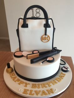 MK bag, hair straightener and make up cake in black and gold!