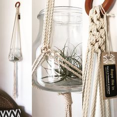 Tradition and modern styles made from natural cotton rope. Glass not included.