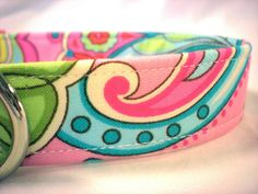 Dog Collar Preppy Green Pink Paisley Flowers for Girl by PinkysPetGear on Etsy https://www.etsy.com/listing/79292820/dog-collar-preppy-green-pink-paisley