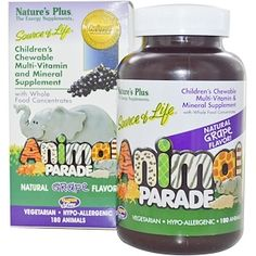 Nature's Plus, Children's Chewable Multi-Vitamin and Mineral Supplement, Natural Grape Flavor, 180 Animals - iHerb.com