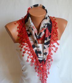 chiffon scarf  red animal print lace chiffon scarf by bstyle, $20.00