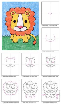 Draw a Baby Lion · Art Projects for Kids Drawing Lessons For Kids, Art Drawings For Kids, Easy Drawings, Art Lessons, Art For Kids, Projects For Kids, Art Projects, Lion Drawing, Drawing Step
