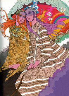 Illustration by Antonio Lopez for Vogue UK, 1970.