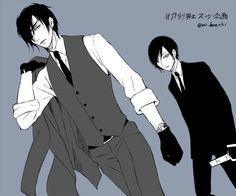燭台さんと薬研ニキで #刀剣男士スーツ企画