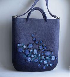 """Купить Сумка валяная """"Лабиринт"""" - васильковый, джинсовый, сумка валяная, валяная сумка, на длинной ручке"""