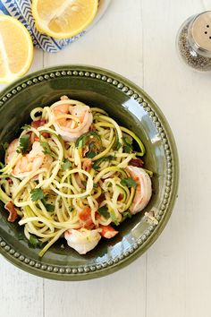 """Easy Bacon Shrimp """"Zucchini Noodle"""" Scampi (no lemon juice, saute zucchini in melted butter)"""