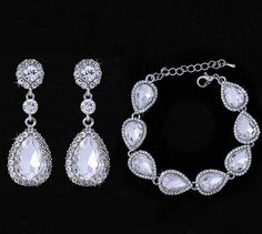 Drop Earring and Bracelet Jewelry Set Wedding Bridal
