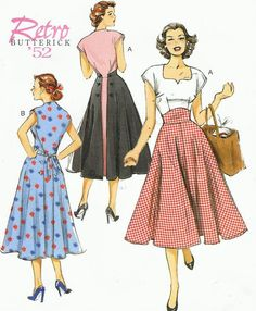 Womens Back Wrap Dress Summer Dress 1950s Dress Butterick Sewing Pattern B6212…