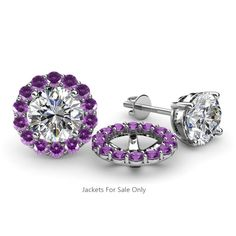 Iolite and Diamond Womens Halo Ear Stud Jacket ctw White Gold Prongs Set Jacket Earrings, Women's Earrings, Diamond Earrings, Diamond Earring Jackets, Studded Jacket, Gold Jacket, Fine Jewelry, Women Jewelry, Jewelry Box