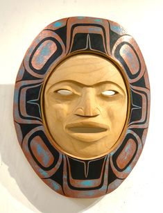Knife-carved moon face surrounded by copper and patina. John Wilson, Moon Face, Indigenous Art, Art Gallery, Copper, Carving, Statue, Artwork, Art Museum
