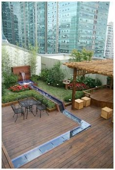 garten-terrasse tropical garden by den and terrace design Rooftop Terrace Design, Rooftop Garden, Balcony Garden, Terrace Floor, Indoor Garden, Estilo Tropical, Tropical Style, Tropical Garden, Urban Garden Design